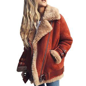 Mujeres Cálido Espesar Chaqueta Outwear Invierno Moda Berber Fleece Casual Chaqueta Mujer Streetwear Plus Size Coat