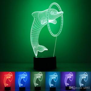 Modernes intelligentes LED-Licht USB-Stromversorgung Energiesparende 3D-Lampe Nette reizende Delphin-Form-Nachtatmosphäre beleuchtet neues 28rm ZZ