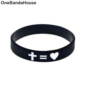 100PCS religieuse Faith Jesus Cross juste et amour silicone Wristband Rempli Logo pour encre Promotion cadeau