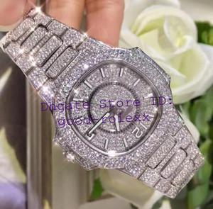 Mulheres de luxo Cal.324SC Ladies Watch automático Miyota 9015 Pave Full Diamond Dial pulseira Bezel Platinum Nautilus 7021-1G Data relógios