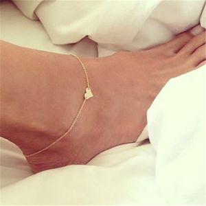 여성 소녀들을위한 보헤미안 스타일 실버 골드 톤 섹시한 발 체인 발찌 팔찌 심장 모양의 패션 빈티지 쥬얼리