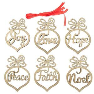 Wooden Christmas Ornaments Noel Love Hope Joy Faith Peace Christmas Hangers Hanging Tags Pendant Christmas Tree Decoration Decor New Year