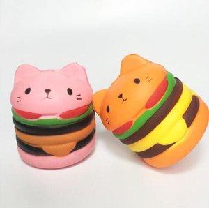 Squishy Cat Head Burger Donut Simulation Cat Face Expression Burger évent soulager la pression lente rebond PU jouets DHL livraison gratuite