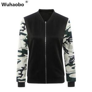 Wuhaobo Kadınlar Ceket 2016 Yeni Varış Kadın Ordu Yeşil Baskılı Kamuflaj Ceketler Standı Yaka Bombacı Ceket Ceket Tops