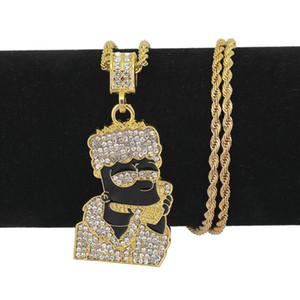 Bling Хип-Хоп Ювелирные Изделия Мужчины Женщины Мультфильм Ожерелье из нержавеющей стали 24inch золотые цепочки для мужчин ожерелье