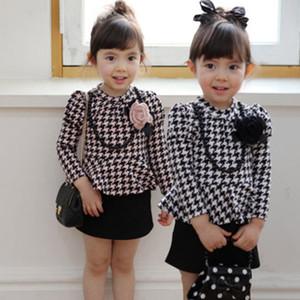 2018 novas meninas clássico xadrez vestido de babado das crianças de manga comprida cingidos vestido da menina do bebê treliça vestido de princesa vestidos de crianças roupas