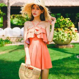 Cool Verão Sexy Elegante Férias Swimsuit Nua Ombros Mostrar Pernas Longas Rosa Ruffled Saia Mulheres Halter Beachwear