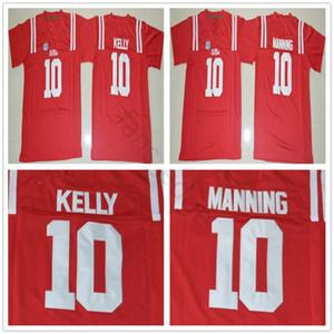 NCAA Ole Özledim Rebels Koleji # 10 Eli Manning Jersey Ev Kırmızı Mens Dikişli 10 Çad Kelly Futbol Formaları Gömlek S-XXXL