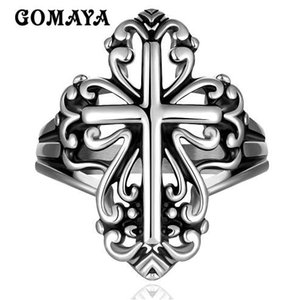 GOMAYA Mens Cross Rings Vintage Rock Punk Hip hop Halloween Party Gift for Men Fashion Jewelry Wholesale 316L Stainless Steel