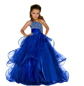 2019 Newest Princess Ball Gown Royal Blue One shoulder Shining Beads Tulle Party Girls Pageant Dresses
