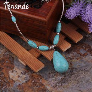 Maxi Boho Tibet Couleur Argent Perles En Pierre Naturelle Big Water Gouttelettes Pendentif Colliers pour Femmes Fille