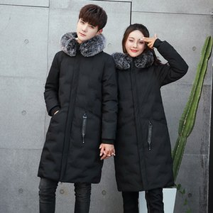 New Canada Jacket Hommes Manteau Couple Fashion Long Winter Warm Hoodie Fox Fur Collar Winter Jackets D'hiver Mens Coats Casual Down Co Qhdb