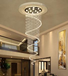 Duplo Rotating Staircase Lâmpada de cristal Hanging Lamp Villa longa escadaria pingente luz para sala de estar Sala de Jantar Staircase