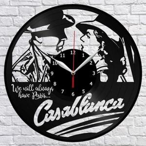 Casablanca Vinyl Wall Clock Fan Art Home Decor Handmade Art Personality Gift (Dimensioni: 12 pollici, Colore: Nero)