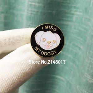 10pcs Cute Dog Pins e Spilla Lovely Custom Metal Badge Regalo Craft Smalto morbido con resina epossidica 1 '' I MISS MY DOGGY Lapel Pin