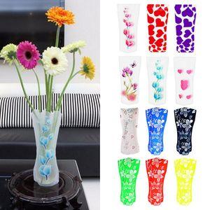 에코 친화적 인 접이식 접는 꽃 PVC 내구성 꽃병 홈 웨딩 파티 저장하기 쉬운 27 x 12cm BBA184