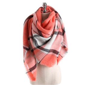 2018 New Pink Blanket Scarf Plaid Tartan Scarf Winter Oversized Large - Baby Pink Blanket Scarf Wholesale Free Shipping