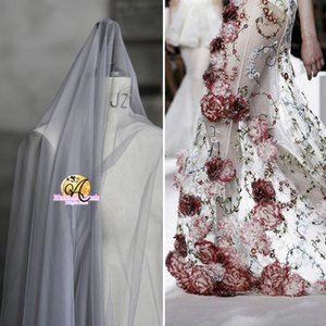 Sem salto, pele-friendly, alta tenacidade, super macio e grosso, transparente hexagonal malha vestido de noiva véu de tecido de tule SR01