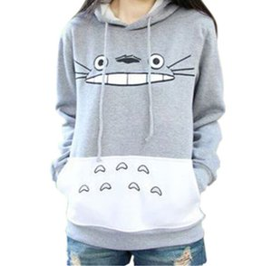Totoro كارتون مطبوعة بأكمام طويلة سترة الإناث هوديس مقنع معطف المرأة هوديس لطيف