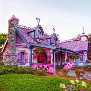 5d DIY Diamond Paintings rosa de dibujos animados casa punto de cruz bordado pintura coser diamantes