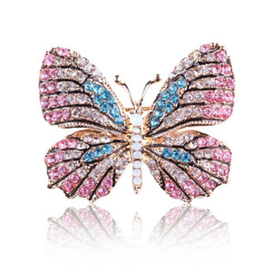 new OneckOha Fashion Jewelry Colorful Rhinestone Butterfly Brooches Alloy Enameled Animal Brooch Pin Apparel Accessories free shipping