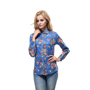 2020 New Women Autumn Blouses Turn Down Collar Floral Blouse Long Sleeve Shirt Women Camisas Femininas Female Tops Fashion Plus Size