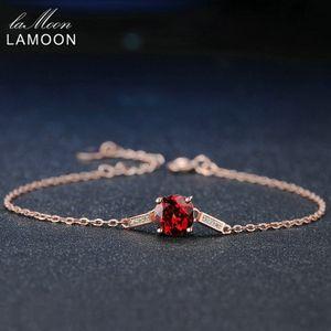 Lamoon 100% Natural Gemstone Classic Red 7mm Granato Bracciale in argento sterling 925 gioielli con catena S925 LMHI008Y1882701