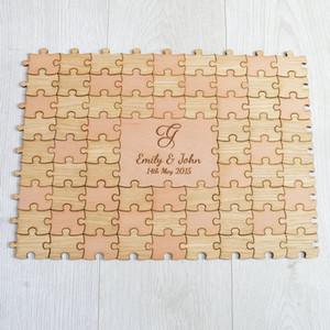 Personalizado De Madeira De Casamento Jigsaw Puzzle Piece Guestbook