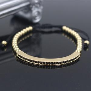 Braccialetti regolabili femminili di colore dell'oro di modo Braccialetti Anil Arjandas Micro pavimenta i gioielli con ciondolo macrame con ciondolo CZ