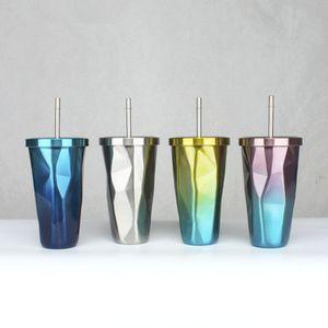 500 ml de acero inoxidable Ombre Tumbler Gradient color cups Cool Shake Cups Gradient Unique Taza de café irregular Colorido Metal Cups