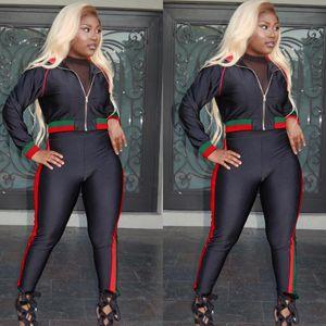 Женщины Повседневная Tracksutis с длинным рукавом черный молния куртки длинные свободные спортивные брюки мода дизайн осень спортивная Сексуальная Спорт пальто для женщин