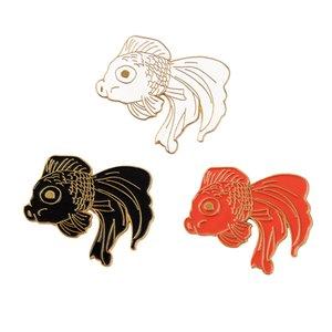 Moda Karikatür Japon Balığı Broş Pin Kostüm Yaka Pin Hayvan Balık Yaka Pin Sevimli Sazan Badge Siyah Kırmızı ve Beyaz 3Colors Broche Toptan