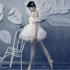 Adulto Ginástica Professional Swan Lake Tutu Branco Traje do bailado da bailarina das meninas Vestido Léotard Mulheres Desempenho Dancewear