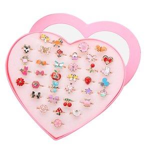 36 pcs Colorido Crianças Bonitos Anéis Ajustáveis Brilho com Forma de Coração Caso de Exibição para Crianças Favores Do Partido de Aniversário