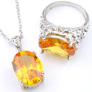 3 Setleri / Lot Luckyshine Sevgililer Günü Nazik Ateş Oval Kraliyet sitrin Taşlar 925 Gümüş Kaplama Düğün Kolye Yüzük Takı Setleri