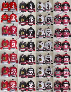 Vintage Chicago Blackhawks 9 casco de Bobby 21 Stan Mikita 35, Tony Esposito 4 Orr 7 Chris Chelios 18 Savard 27 Jeremy Roenick 75a Hockey Jersey