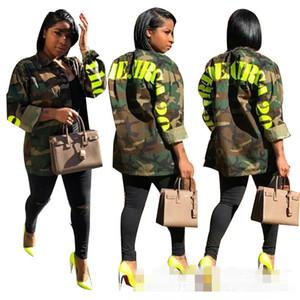Echtes Bild! Mode Frauen Grün Camouflage Brief Druck Mäntel Revers Hals Lange Ärmel Tasten Taschen Casual Jacken Frühling Herbst 2019