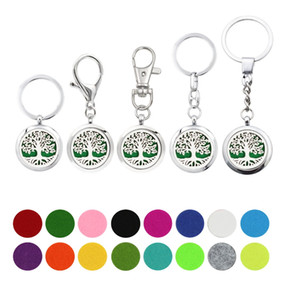 5pcs lot Tree of life Essential Oil Aroma Diffuser Perfume Locket with Lobster clasp Keychain keyring free Pads color randomly K07