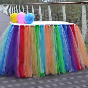 Multicolor Tulle Tutu mesa falda vajilla para el banquete de boda decoración del cumpleaños de encaje cubierta de mesa Home Textiles decoraciones WX9-870