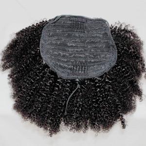 Волосы Afro Puff Ponytail Extensions человека для чернокожих женщин Kinky завитые кулиской хвостик Hairpieces Short High клипсой в Ponytail Extensions
