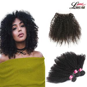 Mongolian Afro Crépus Bouclés Cheveux Extension Weave afro crépus vierges cheveux avec partie libre 4 * 4 fermeture Mongolian Human Hair 3/4 Bundles