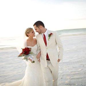 Ivory Wedding Suits Summer Beach Groom Tuxedos Slim Fit Bridegroom Men Suits 2 Pieces (Jacket+Pants) Best Man Blazer