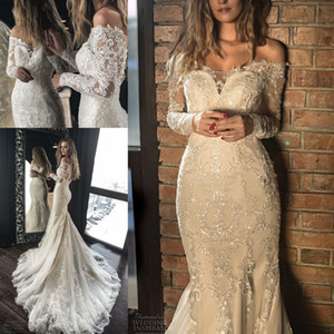 Nueva sirena de encaje Champagne Vestidos de novia 2019 Manga larga vintage Vestidos fuera del hombro Vestidos de novia formales a medida