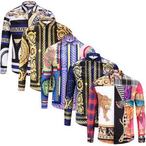 Nagelneue Art und Weise lang Hülsenmänner kleiden Hemden Silk Baumwolle dünne passende Männer beiläufige Hemden Luxus Medusa Hemden