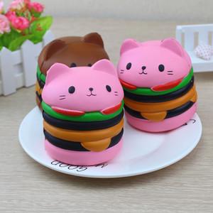 Chat Head Burger Squishy Slow Rising Jouets Simulation Alimentaire Super Doux Lente Rebond Bounce Props Nouveauté Drôle Toys666