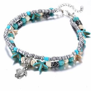 Boho Anklets Jewelry Retro Ankle Bracelet Starfish Handmade Beaded Ankle Bracelets Per le donne Ragazze Summer Beach Ankles Leg Beads Braccialetto