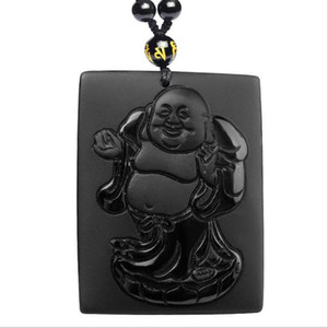 Fábrica direta pedra natural preto Maitreya Buddha pingente barriga buddha colar D123 Maitreya Buddha