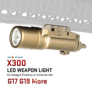 Av CL15-0026 için Picatinny Rail ile Fabrika Satış Taktik X300 Ultra LED Işık Tabanca Lanterna Airsoft Fener