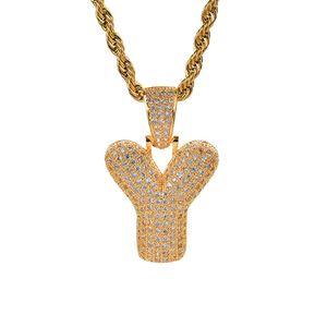Golden 26 lettere per la scelta Bubble Letter Collana con pendente con micro pavè di zirconi e catena a catena Hip Hop per gioielli da donna