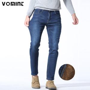 Vomint 2017 New Winter Warm Uomo Jean Heavyweight Slim Straight Jean Casual Addensare Flanella Fleece Elasticity Uomo 40 42